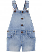 Raw Hem Denim Shortalls