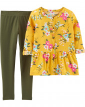 2-Piece Floral Sateen Top & Legging Set