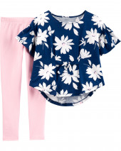 2-Piece Floral Jersey Top & Legging Set