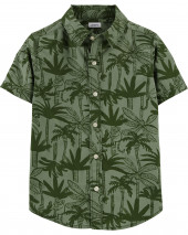 Palm Tree Poplin Button-Front Shirt