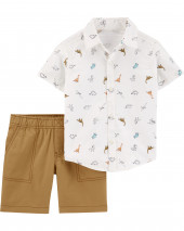 2-Piece Dinosaur Button-Front & Canvas Short