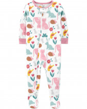 1-Piece Animal Fleece Footie PJs