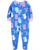 1-Piece Owl Fleece Footie PJs
