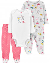 3-Piece Floral Bodysuit & Footed Pant Set