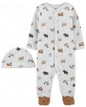 2-Piece Animal Print Snap-Up Sleep & Play & Cap
