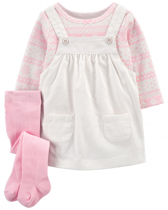 3-Piece Striped Tee & Jumper Set