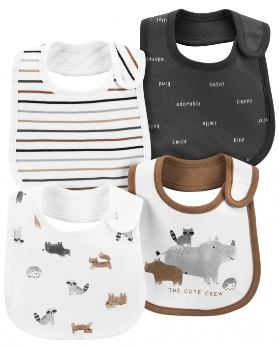 4-Pack Woodland Creatures Teething Bibs